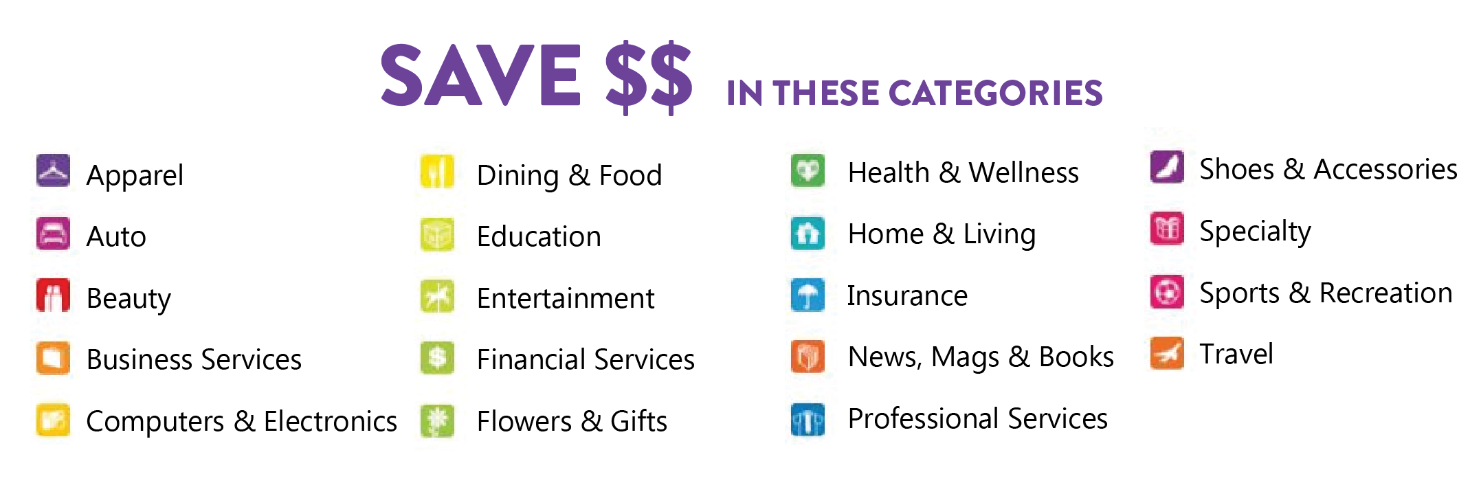 Save on the categories
